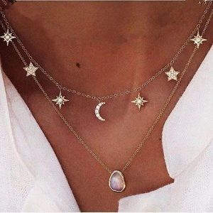 Sun, moon, and stars necklace